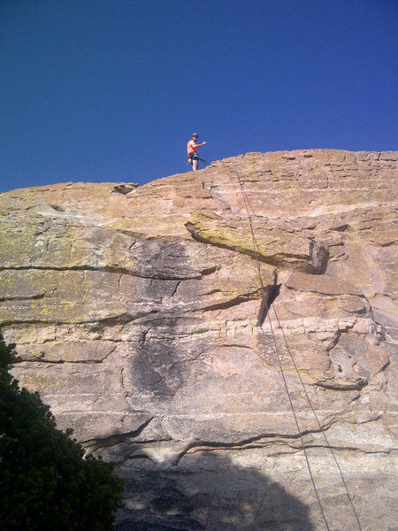 Rock Climbing Photo: The 5.8 route follows the black water stain in the...