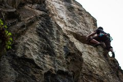 Rock Climbing Photo: Clark, fighting the fight on this obscure route. (...