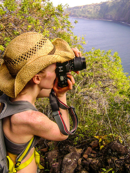 Taking pics at switchback 4 overlooking Waipio Valley, Muliwai Trail