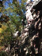 Rock Climbing Photo: My belayer climbing a 5.8