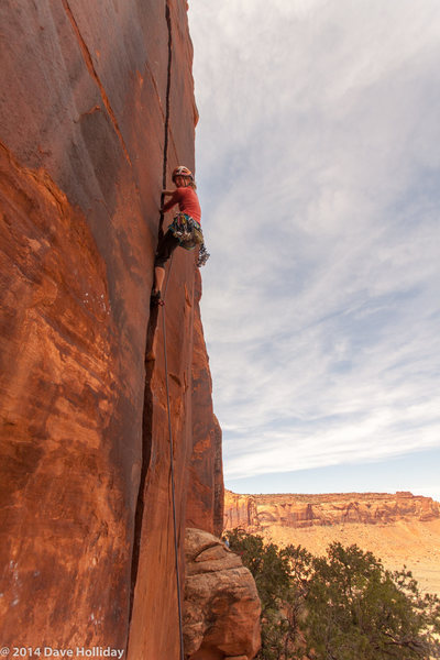 Rock Climbing Photo: Jitka higher on the route.