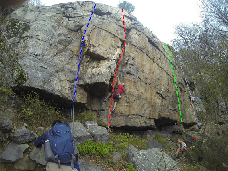 Rock Climbing Photo: Main wall. Blue line on left is on The Dish. Red l...