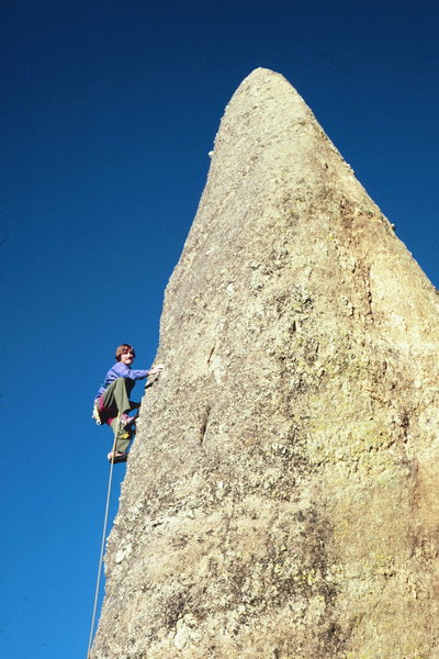 Rock Climbing Photo: Mike Engle leading Moonstone at Rushmore sometime ...