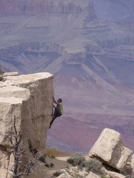 Rock Climbing Photo: Joshua Reinig on Moran Point, it looks fake doesn'...