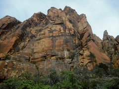 Rock Climbing Photo: Mormon Mission climbs up and left through the dark...
