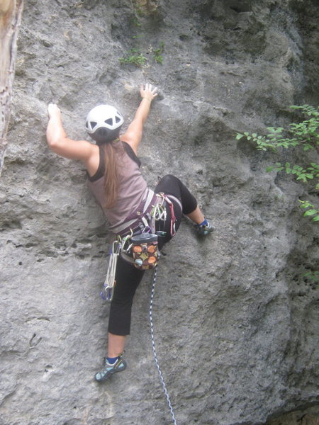Rock Climbing Photo: Melissa leading past first bolt on 'Unknown 10a' r...