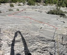 Rock Climbing Photo: Looking down P1 - our wandering line and the varia...