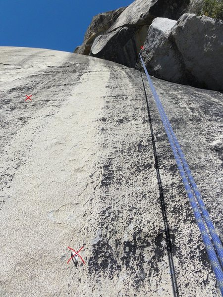 Rock Climbing Photo: End of P3, only showing some of the bolts