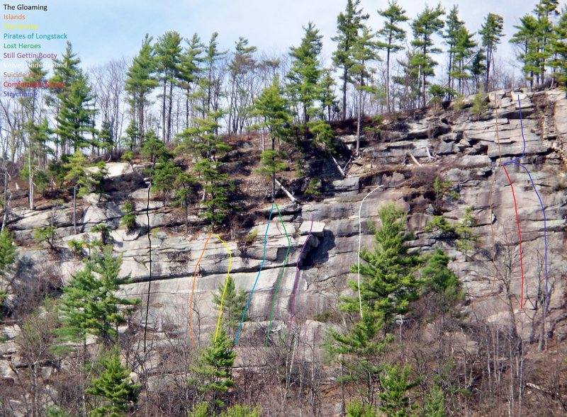 Rock Climbing Photo: Here's a little topo of some routes on the Indigen...
