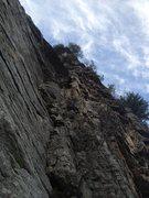 Rock Climbing Photo: Simon near the top of p1