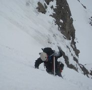 Rock Climbing Photo: Working the snow on Shooting Star.