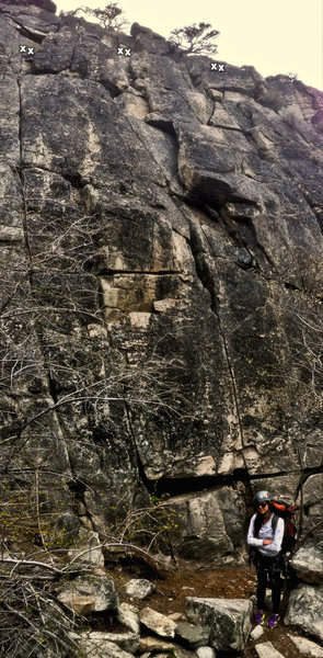 Anchor locations added for the three 1st Tier climbs. Middle is the 5.9<br> ...Kolby lookin' like a boss after her 1st O.S. trad leads.
