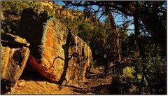 Rock Climbing Photo: Shadowcaster problem beta in blue.