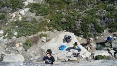 Rock Climbing Photo: Tackling the crux at Donner Pass