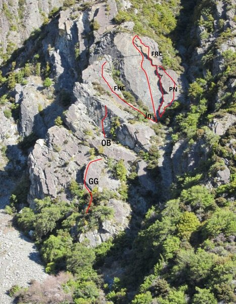 Rock Climbing Photo: The route labelled JN