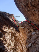 Rock Climbing Photo: Good topo from the base of the route
