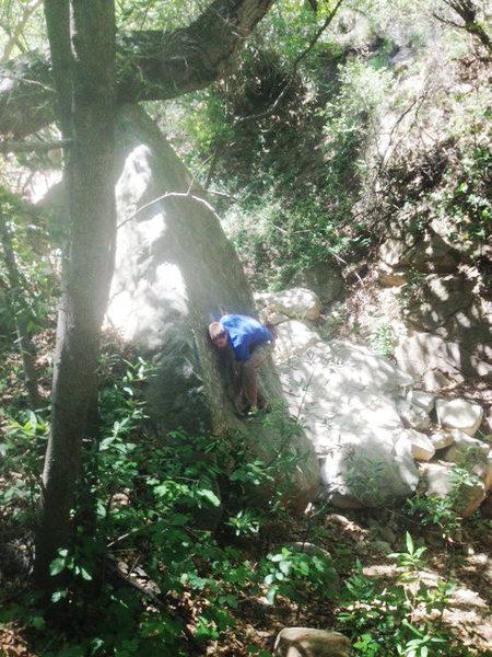 Rock Climbing Photo: Daniel K. with slab technique on Spit Shine.