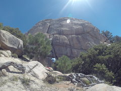 Rock Climbing Photo: Twin Cracks. The 5.8 continues up the large crack ...