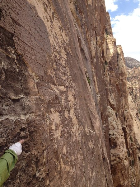 Rock Climbing Photo: P6 traverse as seen from Yellow Brick Road. Zoom i...