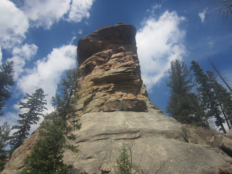 This is the tower of rock to the side of the waterfall looking at it from the boulderfield side. It has a few short crack systems but would more than likely give better sport routes.