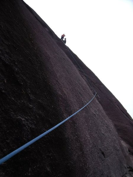 Rock Climbing Photo: At the anchors on top of the first pitch.