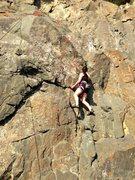 Rock Climbing Photo: Heather working the crux