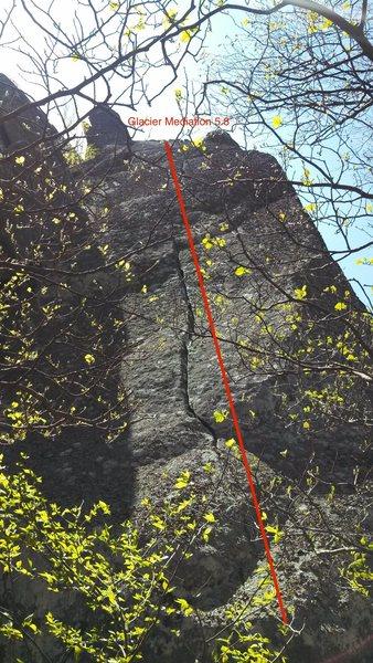 Rock Climbing Photo: Route line for Glacier Mediation.