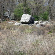 Rock Climbing Photo: To find Chimney Boulders, cut into woods behind th...