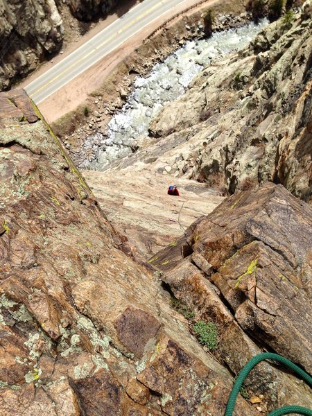 Atop pitch 4, Playin' Hooky, Creekside, Clear Creek Canyon, CO.
