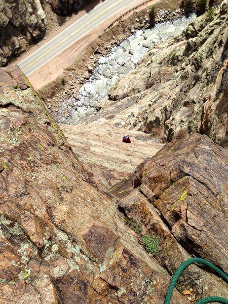 Rock Climbing Photo: Atop pitch 4, Playin' Hooky, Creekside, Clear Cree...