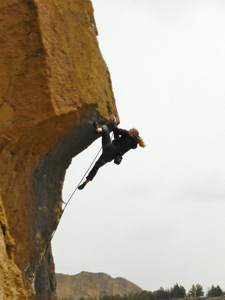 Some random picture of a girl i took while climbing, a famous route at smith rock oregon