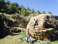 Rock Climbing Photo: Lela moving up through the crux.