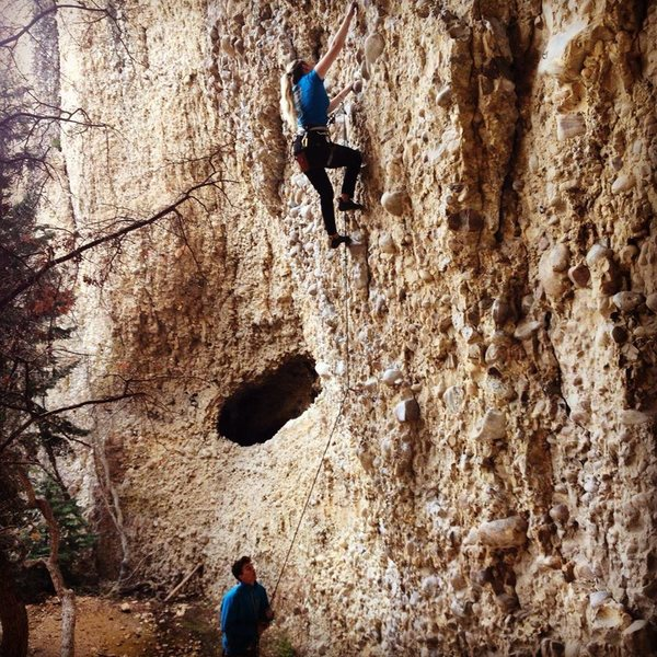 Rock Climbing Photo: Marley belaying me up this pumpy, slopey yet fun r...