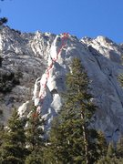 Rock Climbing Photo: Photo overlay with approximate line and belay stat...