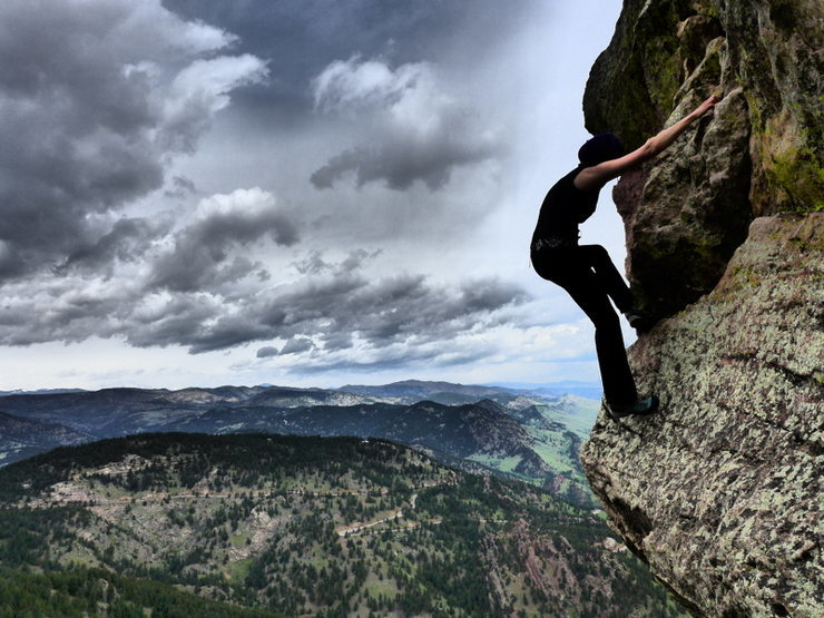 downclimb off the First Flatiron<br> photo by TooTallTim