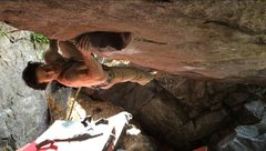 Rock Climbing Photo: One move into Born in Blood.  This thing is steep!...