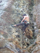 Rock Climbing Photo: Gettin up on a newly opened & bolted crag at the P...