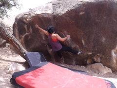 Rock Climbing Photo: Sticking the painful pocket