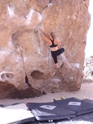 Rock Climbing Photo: Trying the short person beta