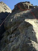 Rock Climbing Photo: MF Direct follows the line in red.