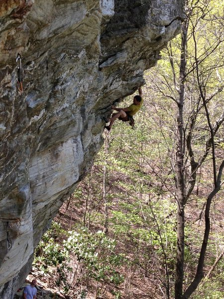 Greg Loomis coming out of the crux.  Photo S.Tart