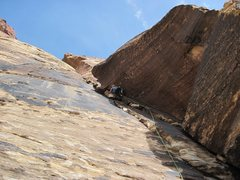 Rock Climbing Photo: Leading in Red rocks, Black Orpheas