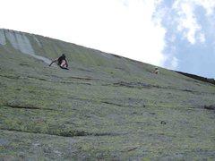 Rock Climbing Photo: Near top of P1 on So Face Direct, traversing towar...