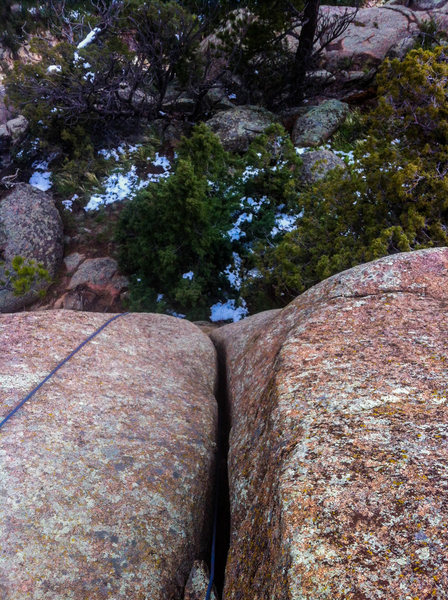 "Rock Climbing Photo: Looking down from the top of ""Little Bighorn&..."