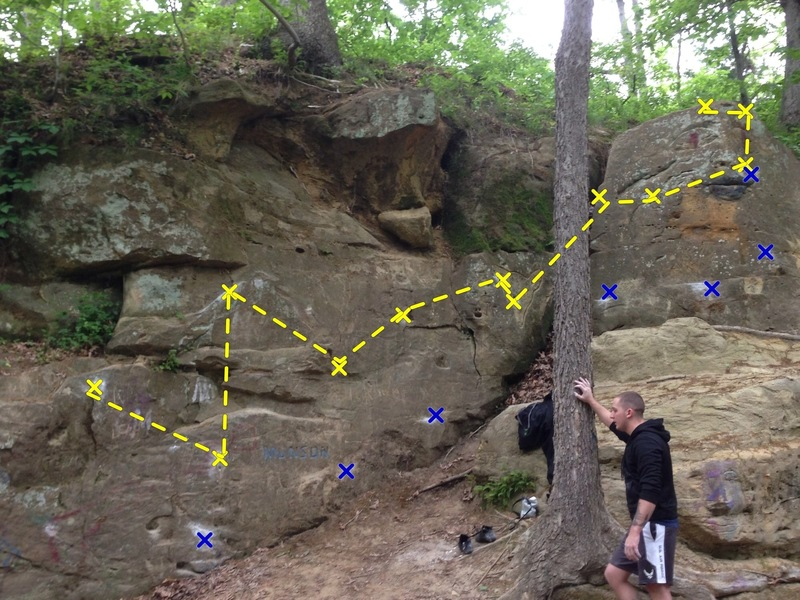 This is the route, a few pockets but I tried to make it reachy with mainly crimps. Look for the name Munson and you should be right on the route. Hand holds are in yellow, and feet are in blue.