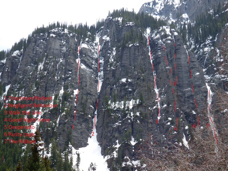Rock Climbing Photo: Routes are in red.