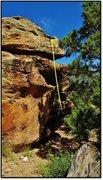Rock Climbing Photo: Carne Asada ascends the slight overhung using the ...
