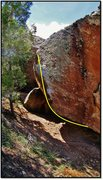 Rock Climbing Photo: Pyrrhic Pulse problem beta, not the ideal picture ...
