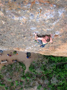 Rock Climbing Photo: Ken coming up the last section of Something Must B...