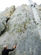 Rock Climbing Photo: Harder option of this route starts where he has hi...